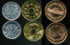 JAPAN SET OF 3 COINS 1 5 10 YEN 2004 UNC