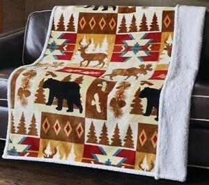 BEAR DEER MOOSE WILDLIFE FLANNEL SHERPA LUXURY SOFT THROW BLANKET 50 x 60 inch