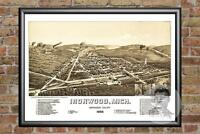Old Map of Ironwood, MI from 1886 - Vintage Michigan Art, Historic Decor