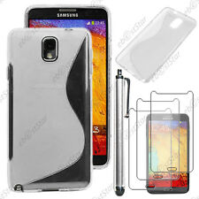 Housse Etui Coque Silicone Transparent Samsung Galaxy Note 3+ Stylet + 3 Films
