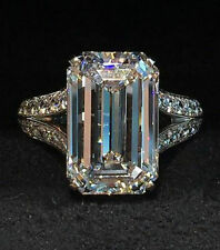 15 ct Emerald Engagement Ring Sterling Silver 925 Solid Split Shank New Gift
