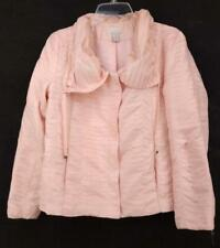 CHICOS Pleated Crinkle Jacket Light Pink Scrunch Collar Charmeuse Sz 1 (M / 8)