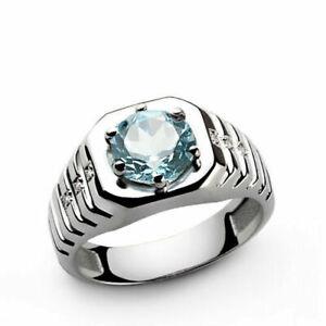 Natural Aquamarine Gemstone 14K Solid White Gold Men's Ring #2127