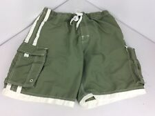 VTG 90s Counter Culture Green Cargo Pocket Board Shorts Sz 33 Swim Trunks Lined