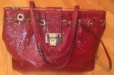 $1,295 Jimmy Choo Large Rhea Red Crocodile Leather Tote Handbag Purse Shopper.