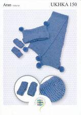 Aran Knitting Pattern for Childrens Pom Pom Hat Scarf & Mittens Set UKHKA 150