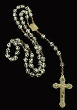 """ANTIQUE ART NOUVEAU CLEAR CRYSTAL FACETED SILVER TONE ROSARY BEADS 20"""""""
