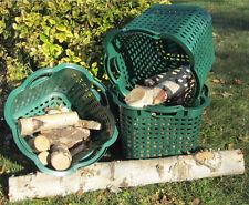 3 x 25 l Korb Set grün Brennholzkorb Holzkorb Unikorb Gartenkorb drehstapelbar