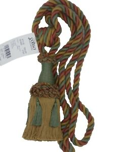 Conso Empress 21960 V123 CEDAR GREEN CAMEL CLAY Tassel Drapery Curtain Tieback