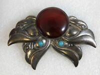 Vintage Tulla Booth Sterling Silver Brooch Turquoise Carnelian Pin 925 Abstract