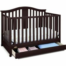 Nursery Furniture 4 in 1 Convertible Baby-to-Toddler Bed Crib with Drawer Brown