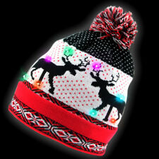LED Light Up Santa Beanie Knit Cap with 10 Colorful Flashing Fit Family Unisex