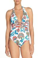 Tommy Bahama Women's  Fira Lace Up Halter One Piece Swimsuit White Floral Size 6