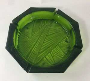 "VTG Green Octogon Glass Cigar Ashtray Large 10"" Heavy Mad Men Cigarette Man Room"