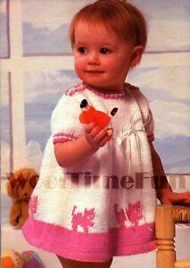 Knitting Pattern Girls/Child's Pretty Dress With Cat Motif. 16-20 Inch Chest.