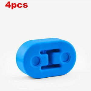4PCS Blue 12mm 2 Hole Exhaust Muffler Polyurethane Rubber Hanger Universal