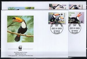 BT142605/ GUYANA – WWF – BIRDS TOUCAN – Y&T # 5683 / 5686 USED – FDC – COMPLETE