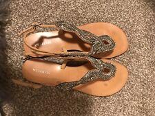 Marella Sequin Flip Flop Sandals Gold Silver Size 6/Euro 39