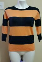 The Limited Women's Orange Blue Striped 3/4 Sleeve Thin Sweater Size XS