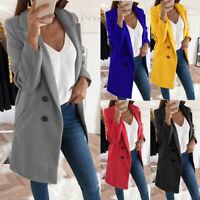 Women Lapel Coat Jacket Woolen Double-breasted Parka Overcoat Fall Warm Solid