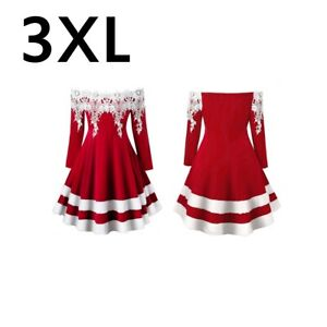 Lace Womens Vintage Christmas Swing Dress Ladies Xmas Party Gown Long Skater UK