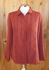 ALEXON rust brick-red burnt orange long sleeve blouse tunic shirt top S 8 34