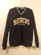 Matthews Solocam Windbreaker Mens Large Black Yellow Spell Out Embroidered