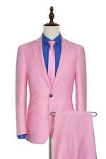 Men Pink Suits One Button Designer Grooms Wedding Dinner Party suits(Coat+Pants)
