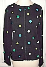 FOXCROFT M Black Blue Chartreuse Zip Cardigan Sweater Cotton Knit Polkadots