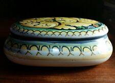 Italian Saca Castelli Vintage Ceramic Pottery Signed hand painted trinket box