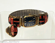 Navajo 14K Gold Ring and Watch with Inlaid Jet and Coral, Ring Size 11