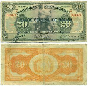 BOLIVIA NOTE 20 BOLIVIANOS L. 1911 (1928) SERIAL B P 115