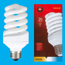 6x 25W (=120W) CFL 4000K Cool White Spiral ES E27 Edison Screw Light Bulb Lamp