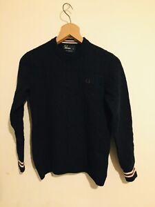 Fred Perry Men's V Neck Navy Jumper S 100% Wool
