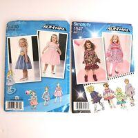 Simplicity Project Runway Girls Dresses Sew Pattern 2430 BB 4-8 & 1547 AA 1/2-3