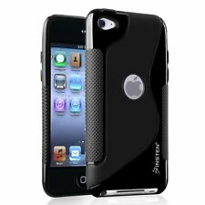 2 Pack TPU Rubber Skin Case For Apple iPod touch 4th Generation Black S Shape