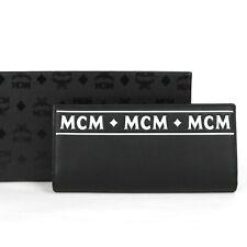 MCM Black Leather Bifold Long Wallet with White Script MXL8ACE95BK001
