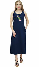 Bimba Women's Sleeveless Denim Dress Dark Blue Round Neck Casual Dresses