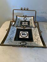 Vintage MCM Aldon Glass 2 tiered brass frame serving tray chip & dip Greek Roman