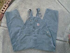 Carhartt gray Insulated Carpenter Style Work Overalls 340x32 Made In USA