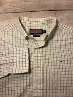 Vineyard Vines Mens Whale Shirt Check Plaid Button Down Collar Cotton Large L