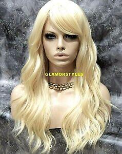 Human Hair Blend Wavy W Bangs Bleach Blonde Full Wig Heat Ok Hair piece #613
