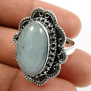 925 Sterling Silver Jewelry Oval Shape Aquamarine Gemstone Ring Size M 1/2 A6