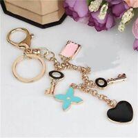 Bag Purse Charm Key Chain Ring Coin Designer Charm Key Holder Flower Heart Gold