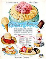 1952 Ice Cream festival American Dairy assoc pie cake vintage art print ad adl78
