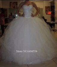 UK Beaded White/ivory Wedding Dress Bridal Gown Size 6-22