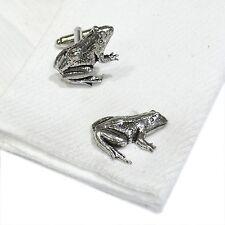 English Pewter FROG  animal Cufflinks. Xmas Gift NEW (X2TSBCA14)