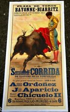 AFFICHE DE CORRIDA LITHOGRAPHIE < PLAZA DE TOROS DE BAYONNE-BIARRITZ 4 Sept 1955