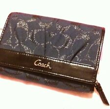 NEW COACH Wallet Navy BLUE Metallic Jacquard & Patent Leather Gift Bag Stunning!