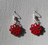 SMALL RED LASER CUT WOOD FLOWER SILVER PLATED DROP EARRINGS hook